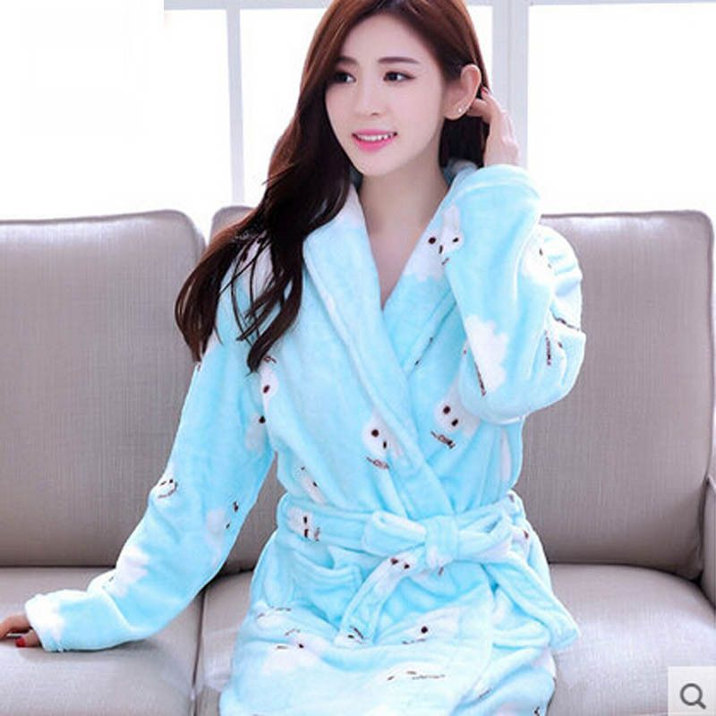 db8e64e0dc Warm Winter Hooded Bathrobe Thicken Cotton Flannel Pajamas Couples Bathrobe  Kimono Dressing Gown Sleepwear Robes For Women Men