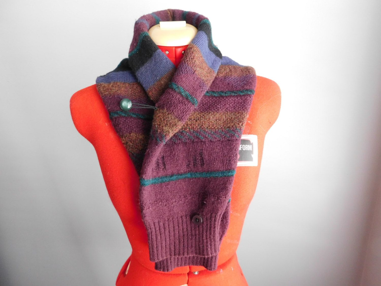 Items similar to Sale, Boyfriend hug, knitted scarf, unique scarf, geek  scarf, recycled scarf, upcycled sweater, recycled sweater, winter scarf,  neckwarmer ...