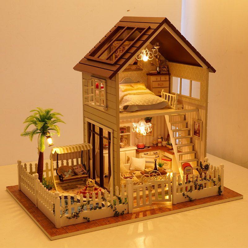 US $48.89 |Freies Verschiffen Montage DIY Miniatur Modell Kit Holzpuppenhaus, Paris Haus Spielzeug mit Möbel|doll house|house toydiy miniature - AliExpress