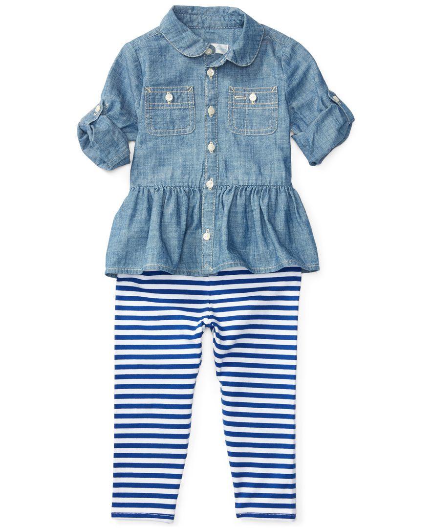 fe91a6793fdc Ralph Lauren Chambray Shirt   Striped Leggings Set