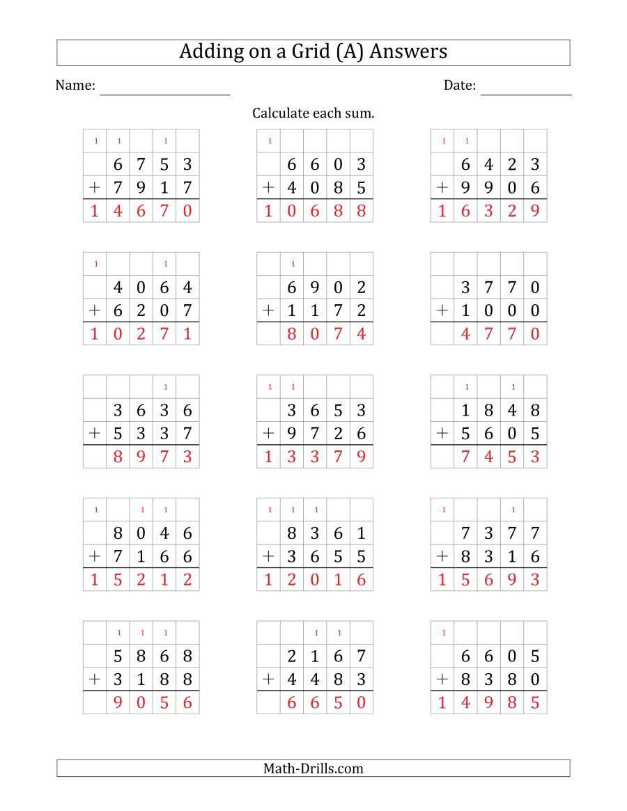 The Adding 4 Digit Plus 4 Digit Numbers On A Grid A Math Worksheet Page 2 Teacher Worksheets Math Math Division Worksheets Free Printable Math Worksheets