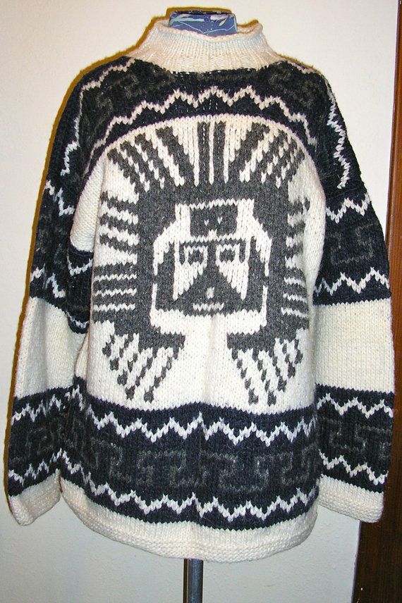 80s, Cowichan, sweater, pull over, Canada, knit, large