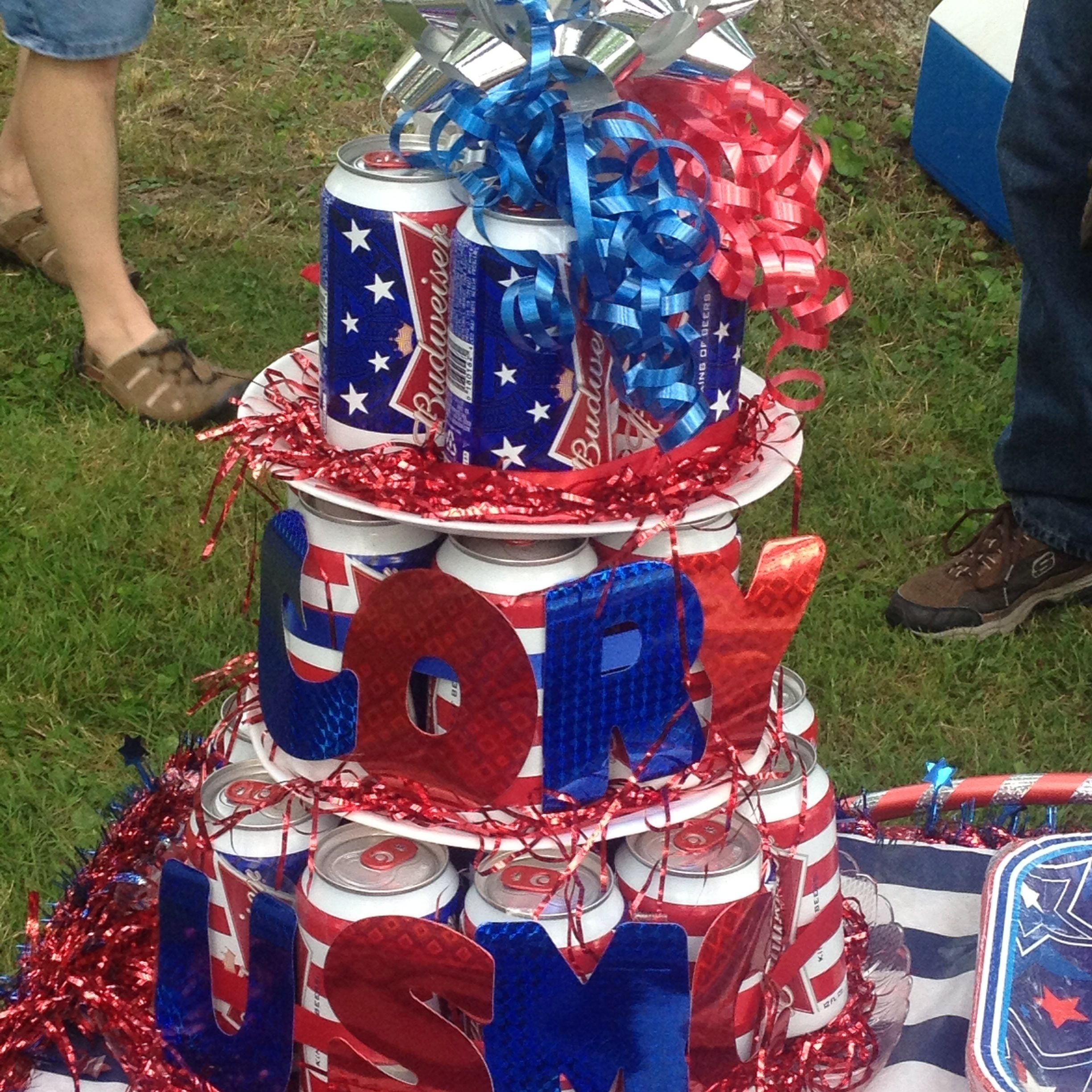 Cory 39 s beer cake for his welcome home party army for Military welcome home party decorations