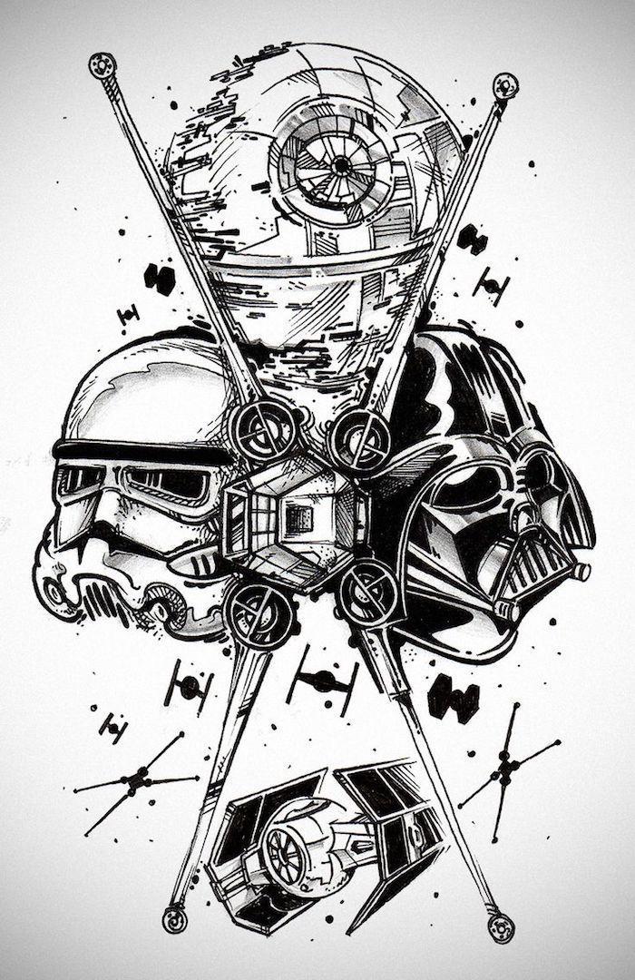 Ein Tattoo Mit Einem Schwarzen Darth Vader Einem Weißen Klone Star Wars Robotern Und Fliegenden Raums Star Wars Tattoo Star Wars Drawings Star Wars Wallpaper
