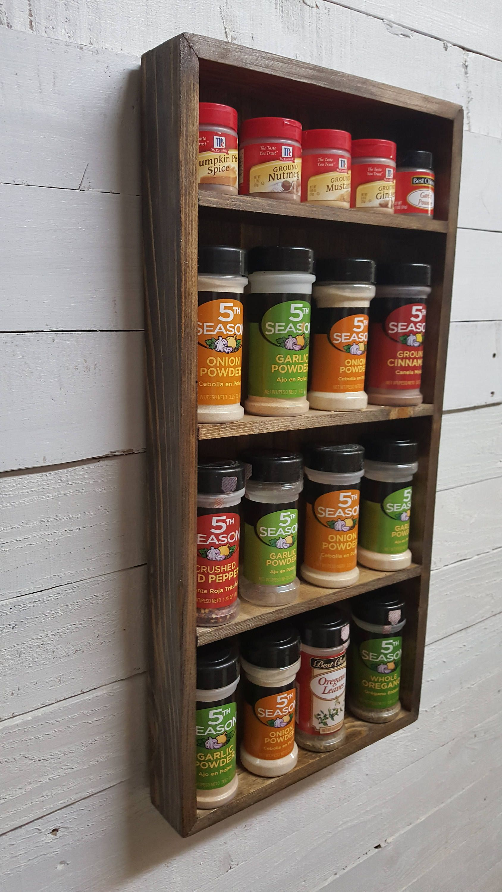 Wood Spice Rack For Wall Rustic Country Primitive Wood Wall Shelf Kitchen Spice Rack