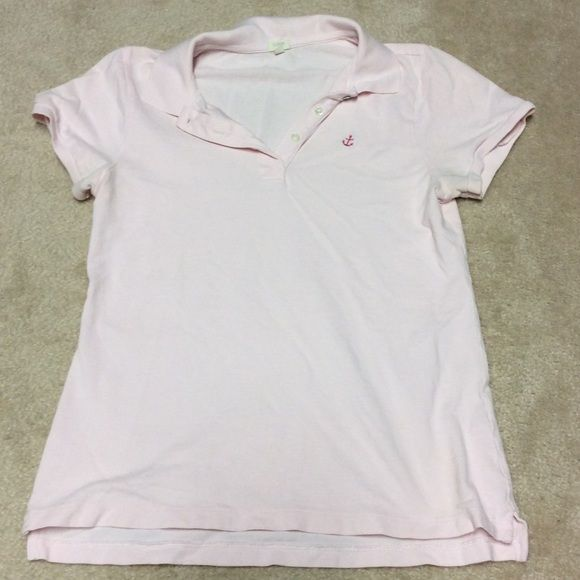 *$5 SALE* Crew polo shirt with anchor detail Pink J Crew anchor polo shirt. Good condition. Some wear on arms. Size M. 100% cotton. J. Crew Tops Tees - Short Sleeve