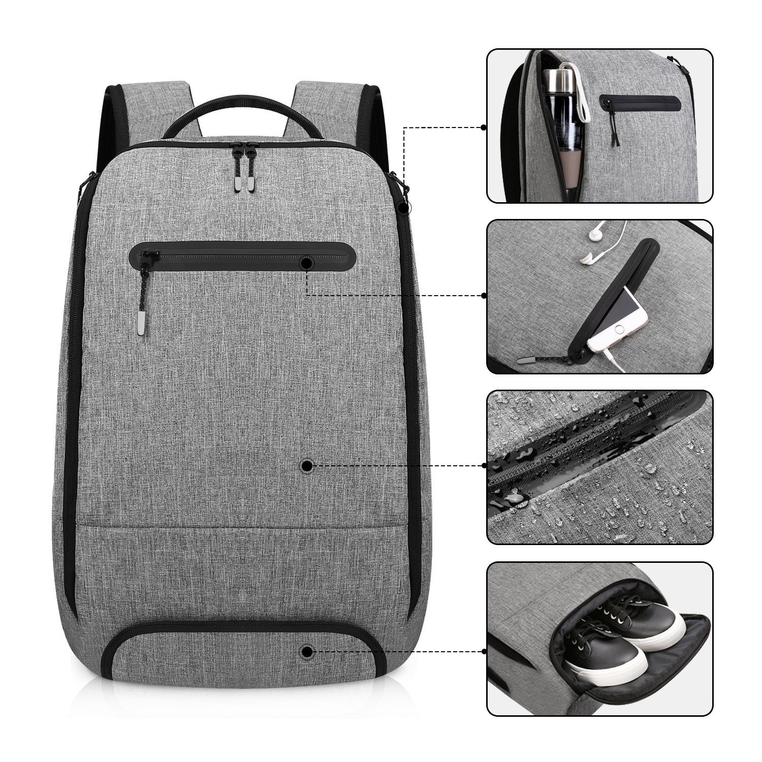 Slim Travel Backpack with Laptop Compartment for Men and Women Water Resistant
