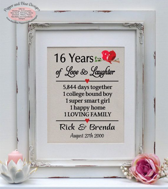 16th Wedding Anniversary Gifts 16 Years By Pepperandbluedesigns