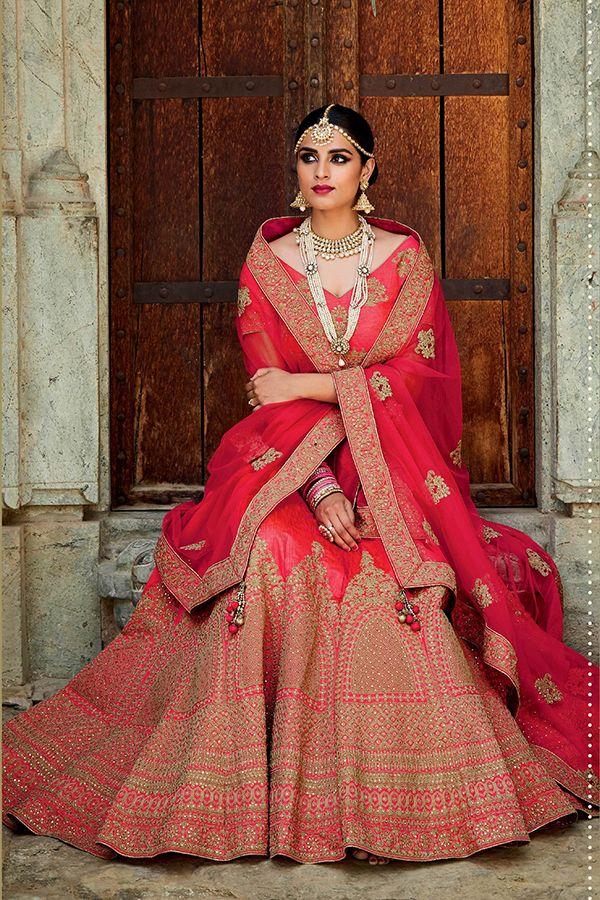 effed78c7 Carrot Red Color Mastani Silk Fabric Lehenga Choli - Hetal's Boutique