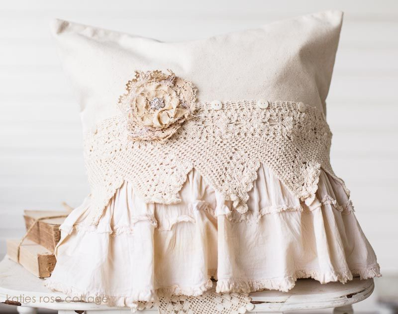 Decorative Pillows With Ruffles : Canvas Vintage Lace and Ruffle Pillow My old website things Pinterest Patterns, On and Ruffles
