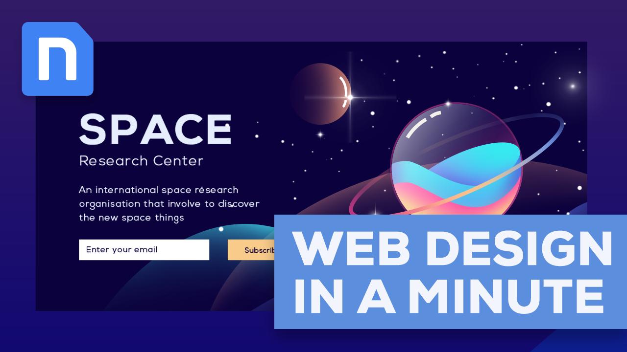 Web Design In A Minute Space Research Center Web Design Web Layout Design