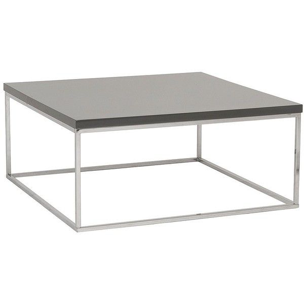 Euro Style Teresa Square High-Gloss Gray Coffee Table (£165) ❤ liked on Polyvore featuring home, furniture, tables, accent tables, grey, lacquer furniture, lacquer table, grey coffee table, square coffee table y euro style furniture