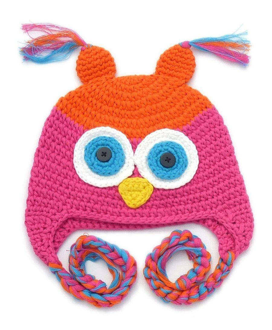 Galipatte ☆ Mütze Eule pink/orange | Crochet Knit for kinder ...