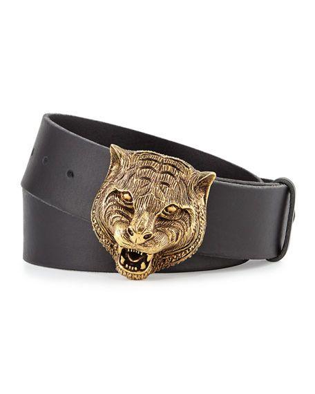 a77de2d26e8 GUCCI Men S Leather Belt With Tiger Buckle.  gucci