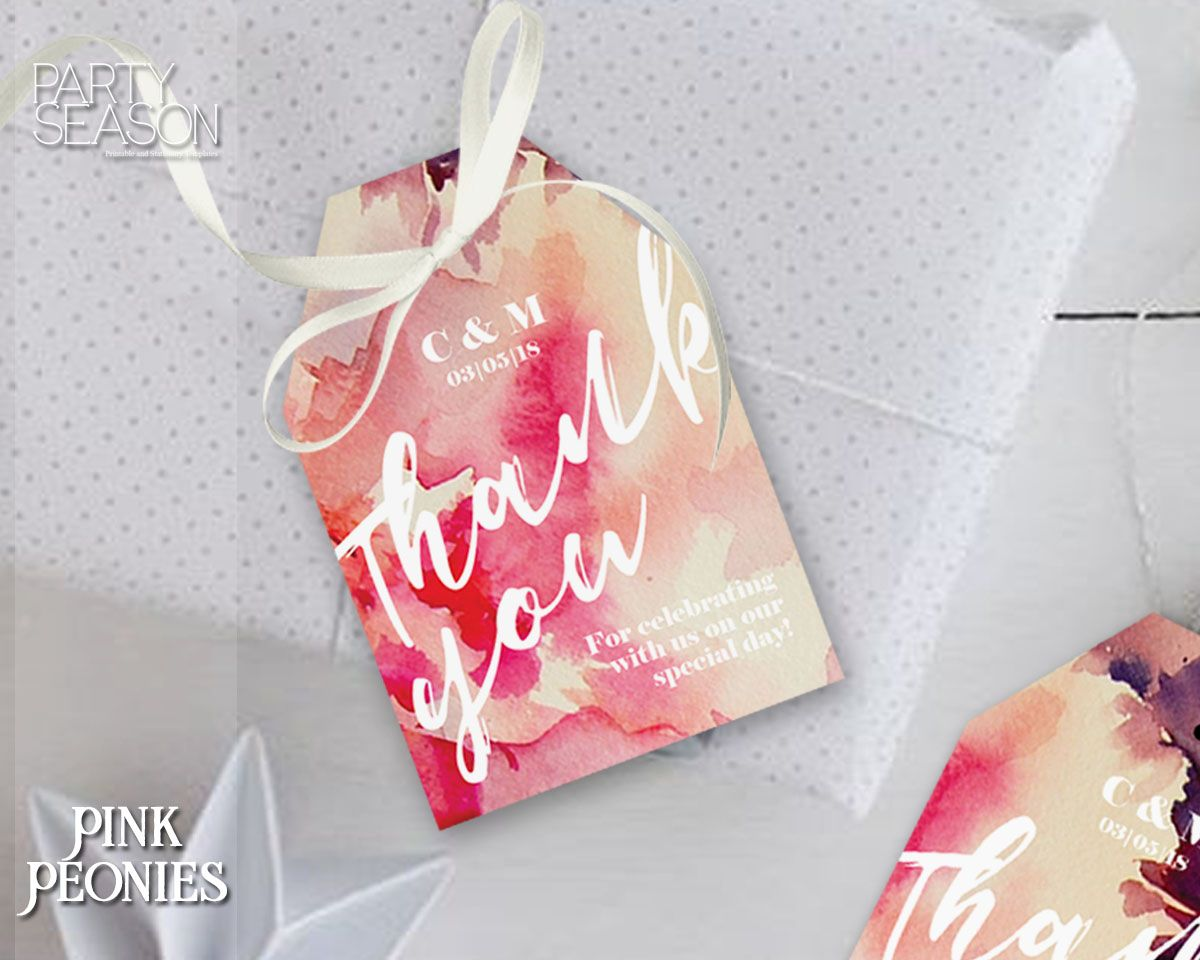 Thank You Tag, Wedding Thank You Tag PINK PEONIES https ...