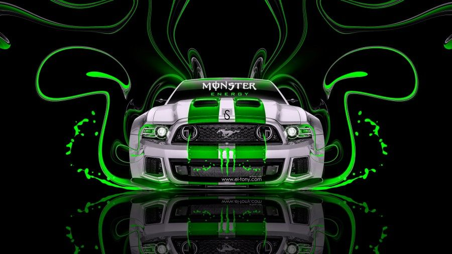 Monster Energy Ford Mustang Muscle Back Fire Acid Car Green