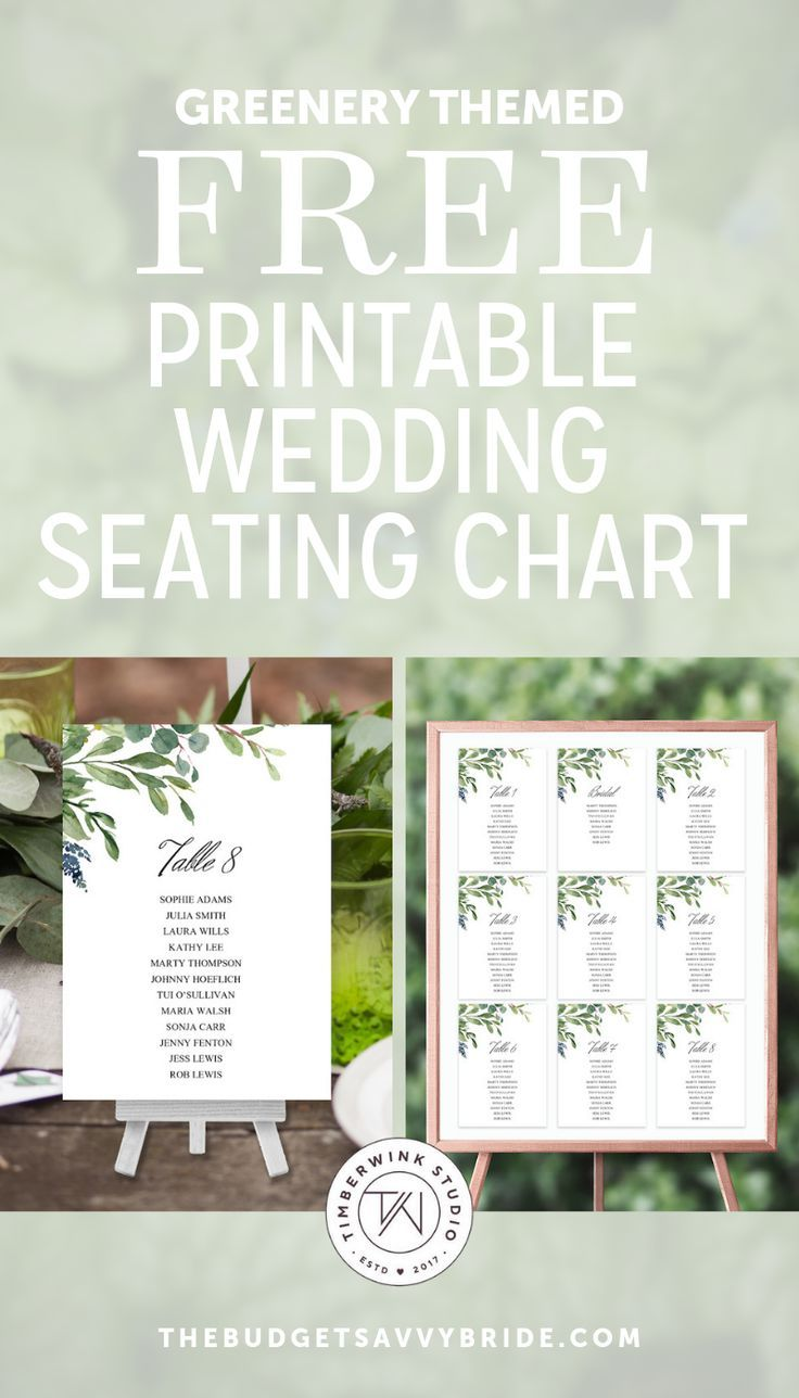 Greenery Inspired Seating Chart And Wedding Programs In 2020 Free Wedding Printables Seating Chart Wedding Template Seating Chart Wedding Free wedding seating chart template