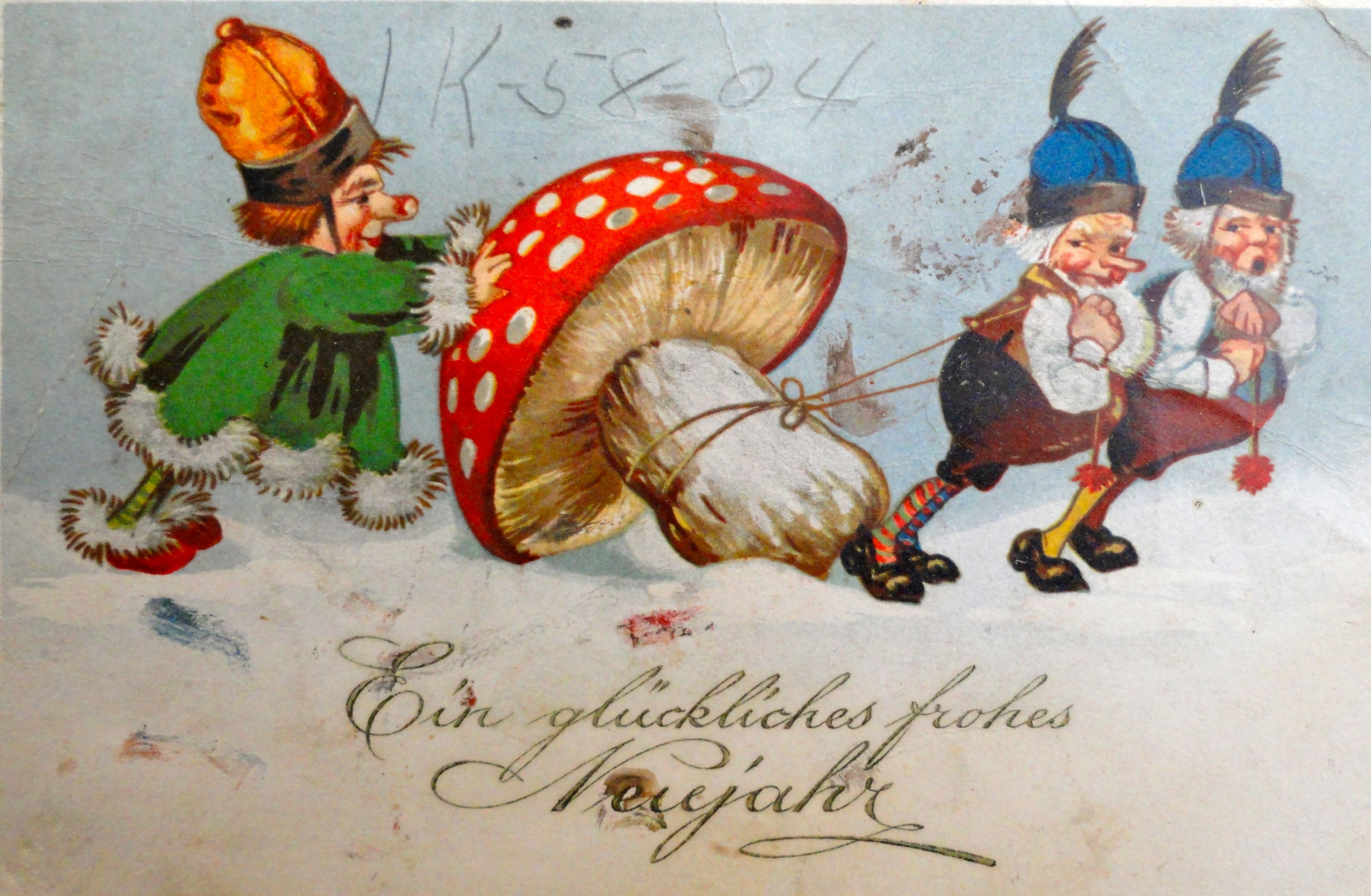 Old German New Years Card Repinned By Www Gorara Com Fairy Artwork Vintage Christmas Cards Santa Paintings