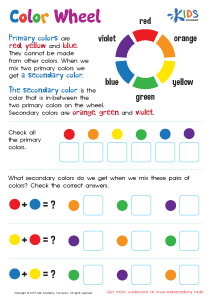Primary and Secondary Colors Worksheet PDF kids
