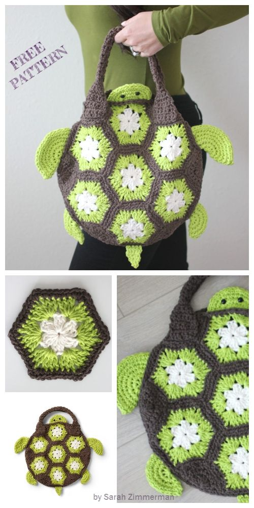 Crochet Sea Turtle Tote Bag Free Crochet Pattern #crochetturtles