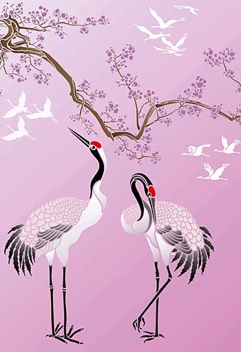 Large Asian Red Capped Cranes Bird Stencil #birdfabric
