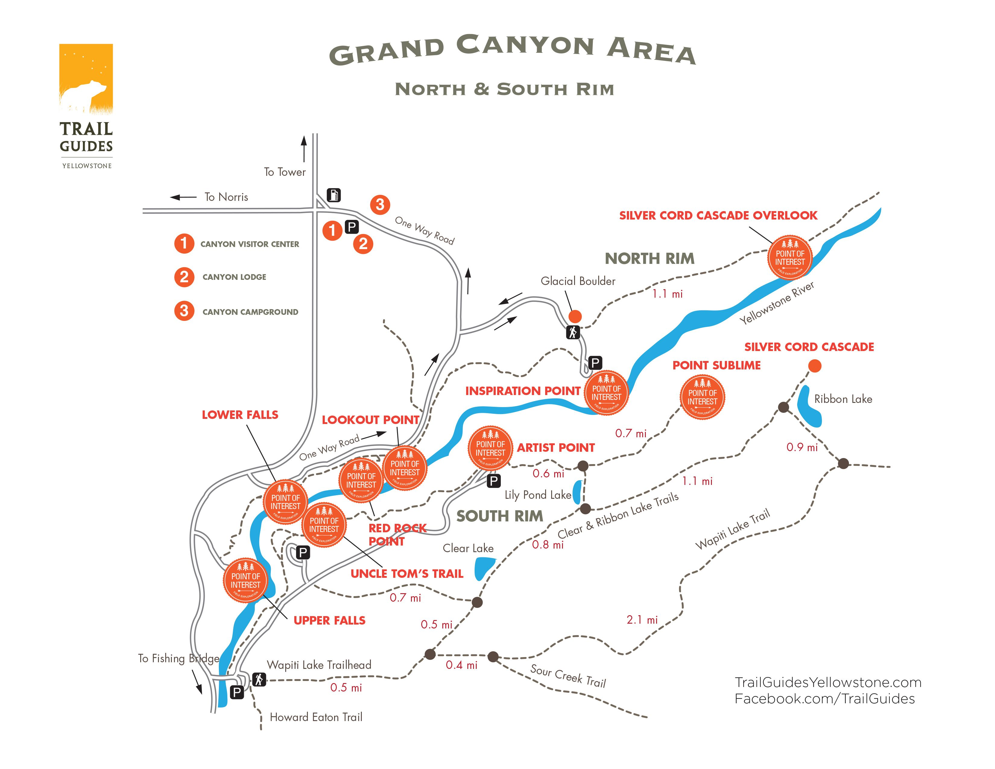 Grand Canyon Of The Yellowstone Trail Map Maps Of The