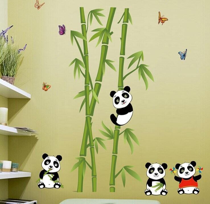 New Design Cartoon Panda And Bamboo Wall Sticker Vinyl Mural Decal ...