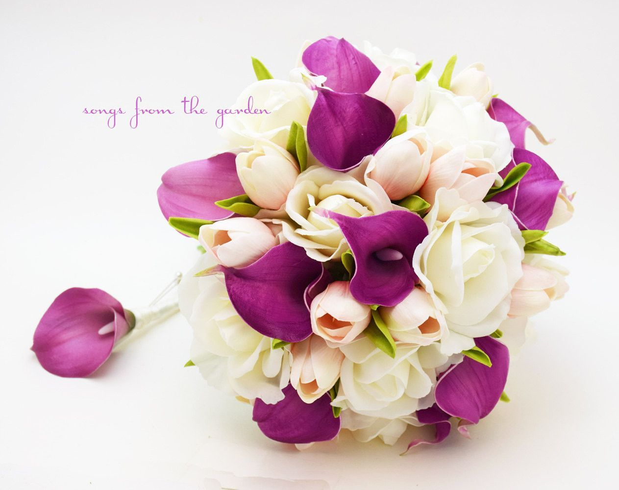 Real touch purple callas blush pink tulips white roses bridal flower bouquets dhlflorist Images