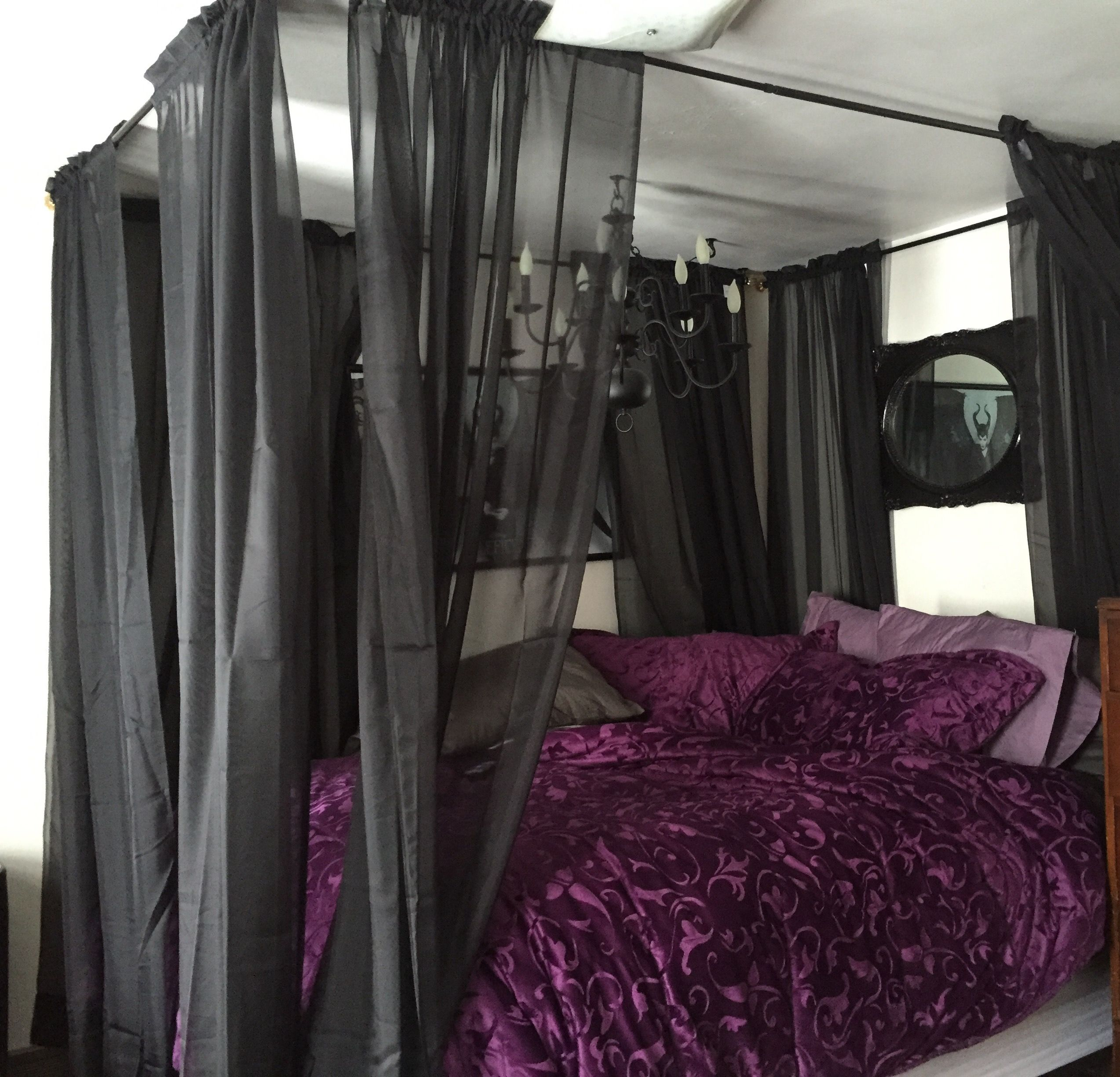 My Bed After I Hung The Homemade Canopy And Sheer Curtains On The