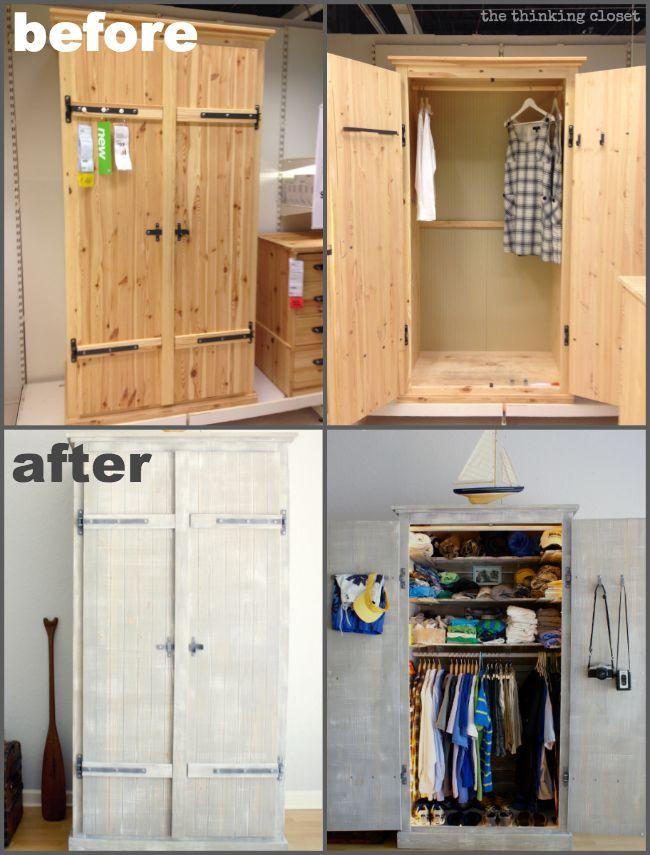Ikea Hack Whitewashed Fjell Wardrobe With Pallet Shelves The Thinking Closet Ikea Wardrobe Hack Ikea Ikea Hack