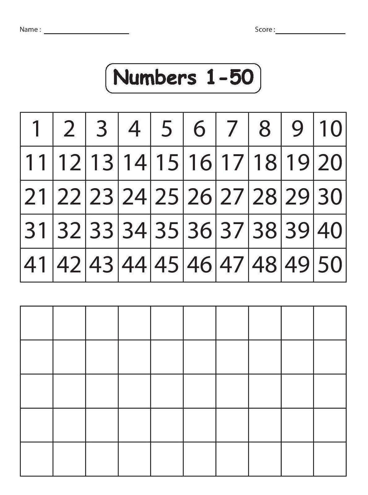 Numbers 1 50 Worksheet Numbers 1 50 Worksheets In