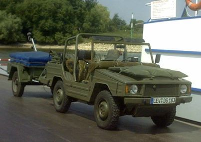 This old Iltis with a Bundeswehr trailer would make a fun compact camping setup