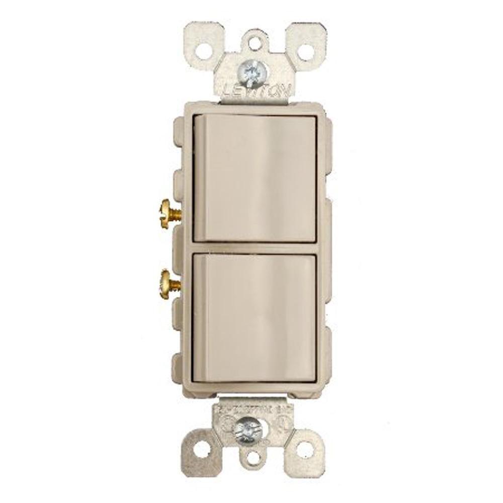 15 Amp Decora Commercial Grade Combination Two Single Pole Rocker Switches, Gray