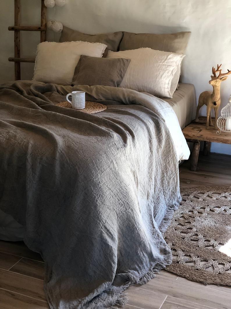 Linen Bed Cover Rustic Linen Rustic Blanket With Fringes Etsy Burlap Bedding Bed Linen Design Linen Bed Cover