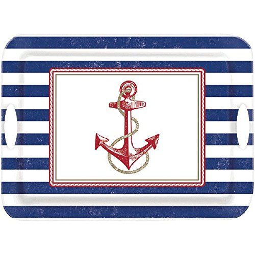 Nautical Plastic Plates. Amscan Anchor\'s Aweigh Nautical Party ...