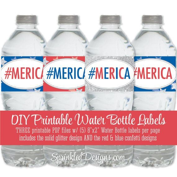 Printable July 4th Merica Water Bottle Labels  by SprinkledDesign