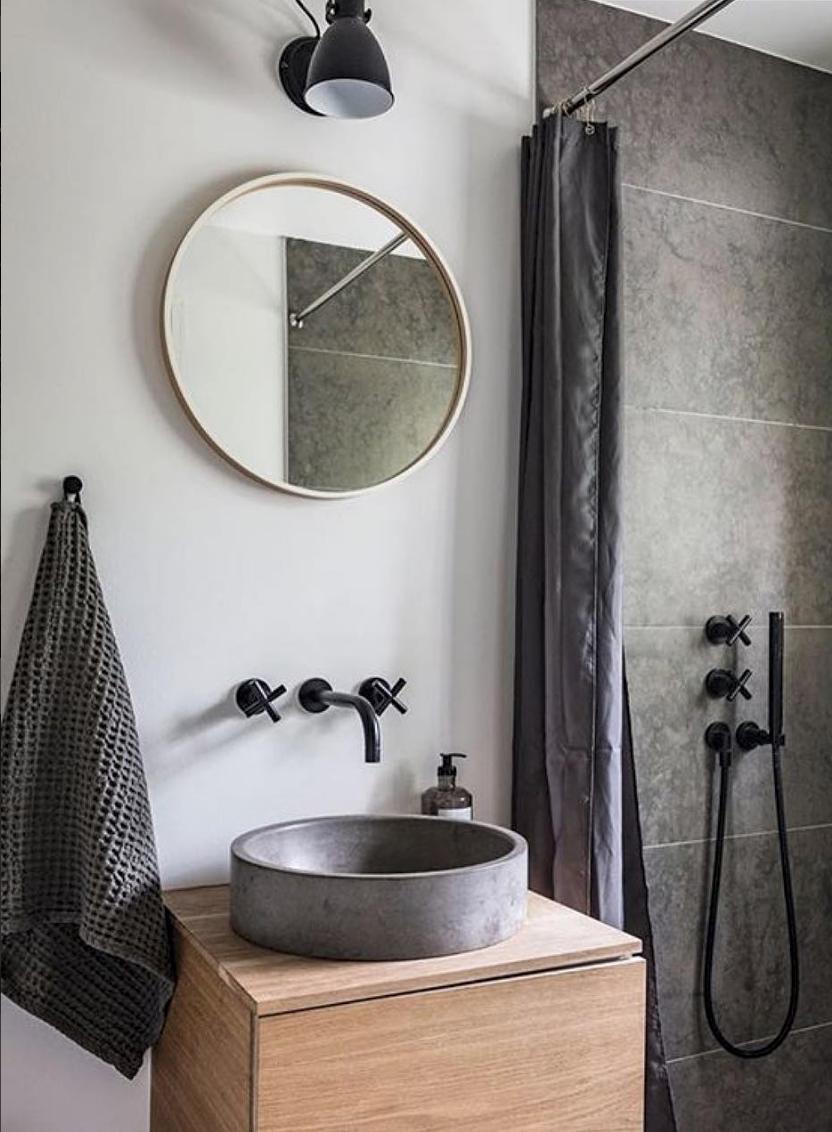 salle de bain design mobilier meuble bois vasque béton ciré ...