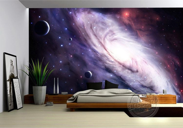 buy 3d purple galaxy wallpaper for bedroom charming wall mural silk photo. Black Bedroom Furniture Sets. Home Design Ideas