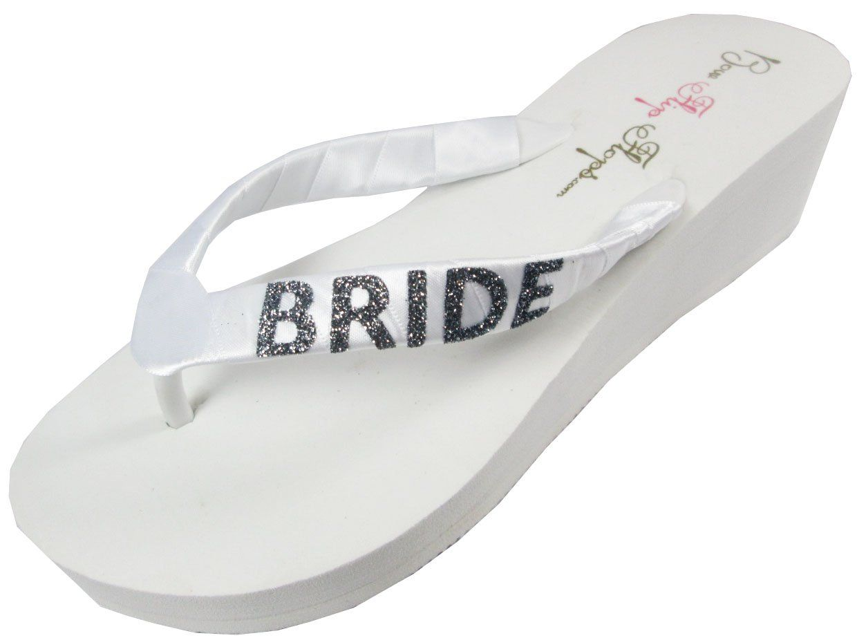 ed41bc2d650743 Amazon.com  Bridal Flip Flops Bride Bling Glitter Wedge Wedding Platform  Sandals Satin 2 inch Flip Flops Shoes  Shoes