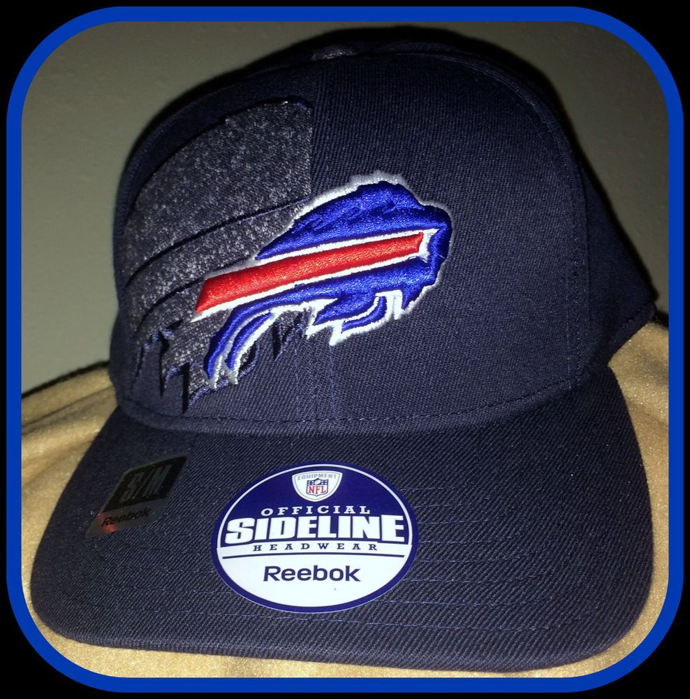 Buffalo Bills Reebok Embroidered Sideline Flex Fit Cap Hat Adult S M Free Ship Reebok Buffalobills With Images Fitted Caps