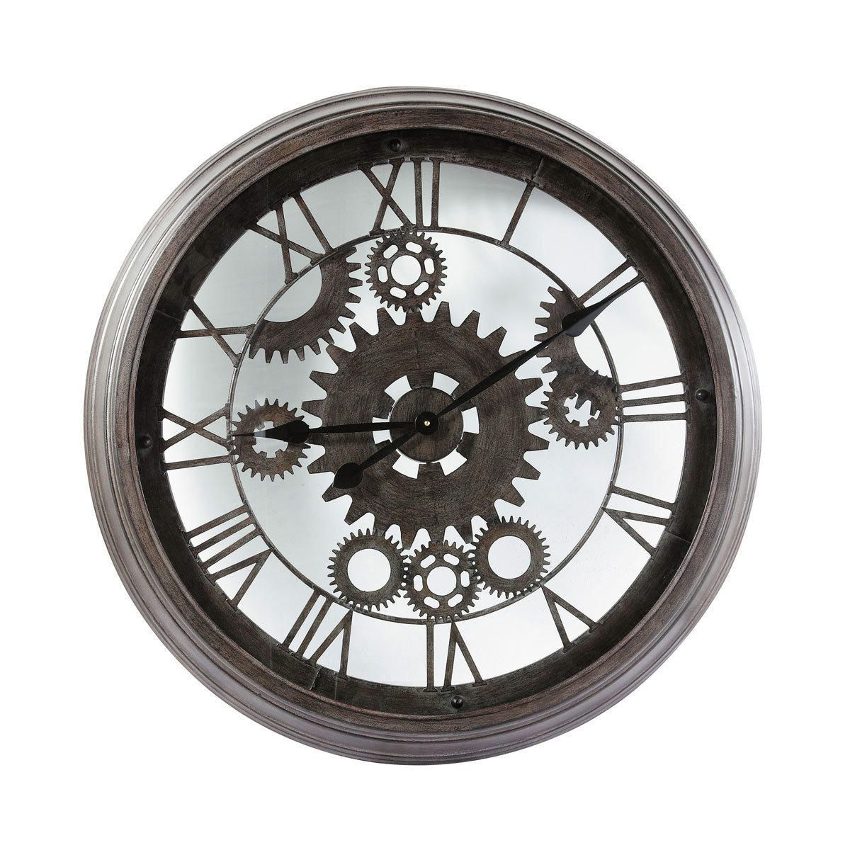 Metal industrial clock in black d 82cm idg e2 hotel lobby artwork selection pinterest - Horloge a poser maison du monde ...