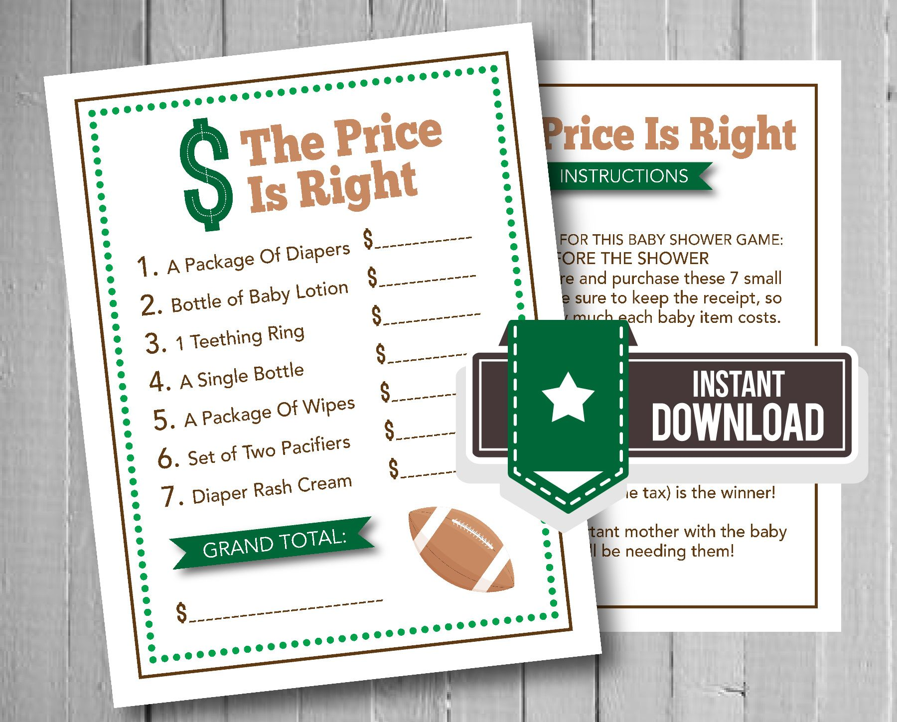 Football Shower Game The Price Is Right Baby Shower Game Football