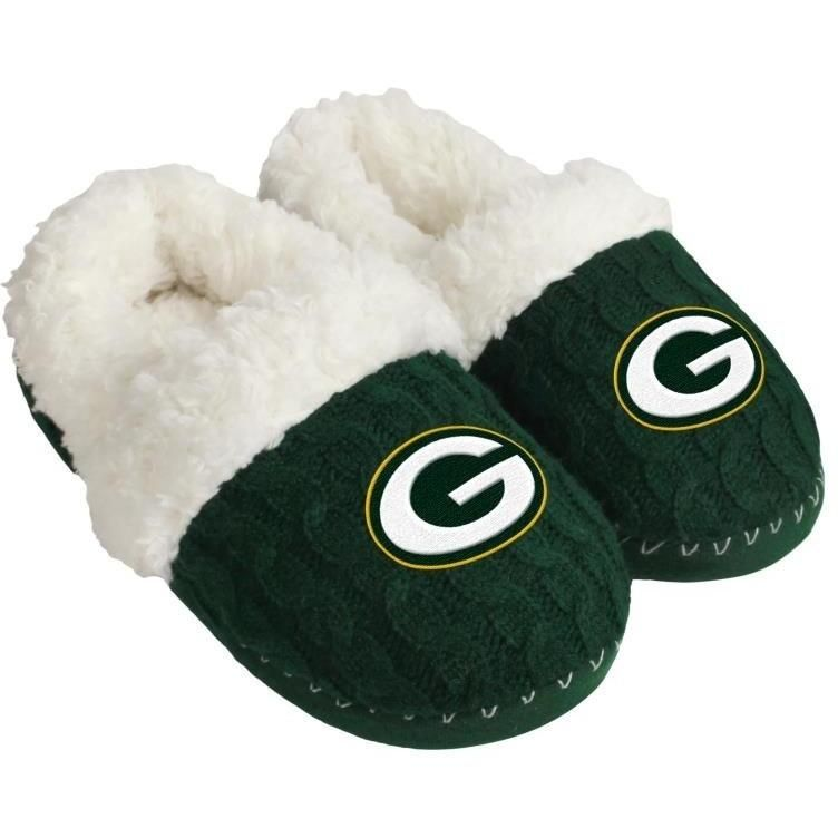 Green Bay Packers NFL Womens Fur Team Color Moccasin Slippers **PREORD