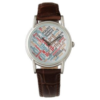 Christian PSALM 23 Women's Brown Leather Watch