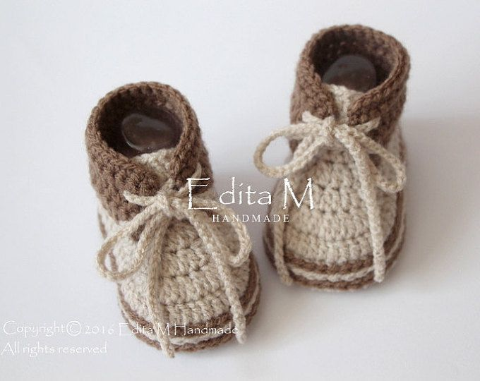 Crochet baby booties, unisex baby shoes, boots, baby sneakers, brown ...