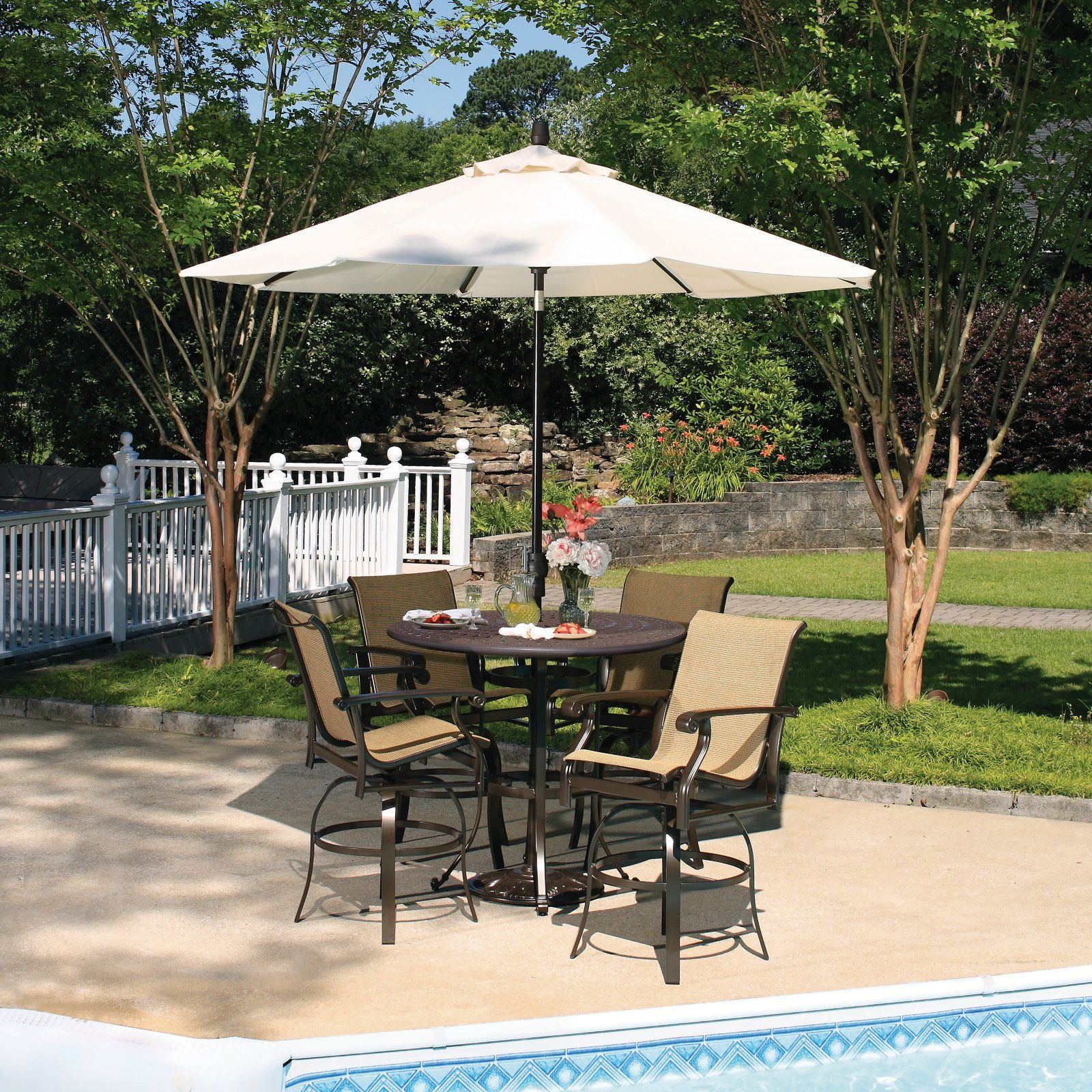 Patio Furniture Sets Bar Height Among White Umbrella