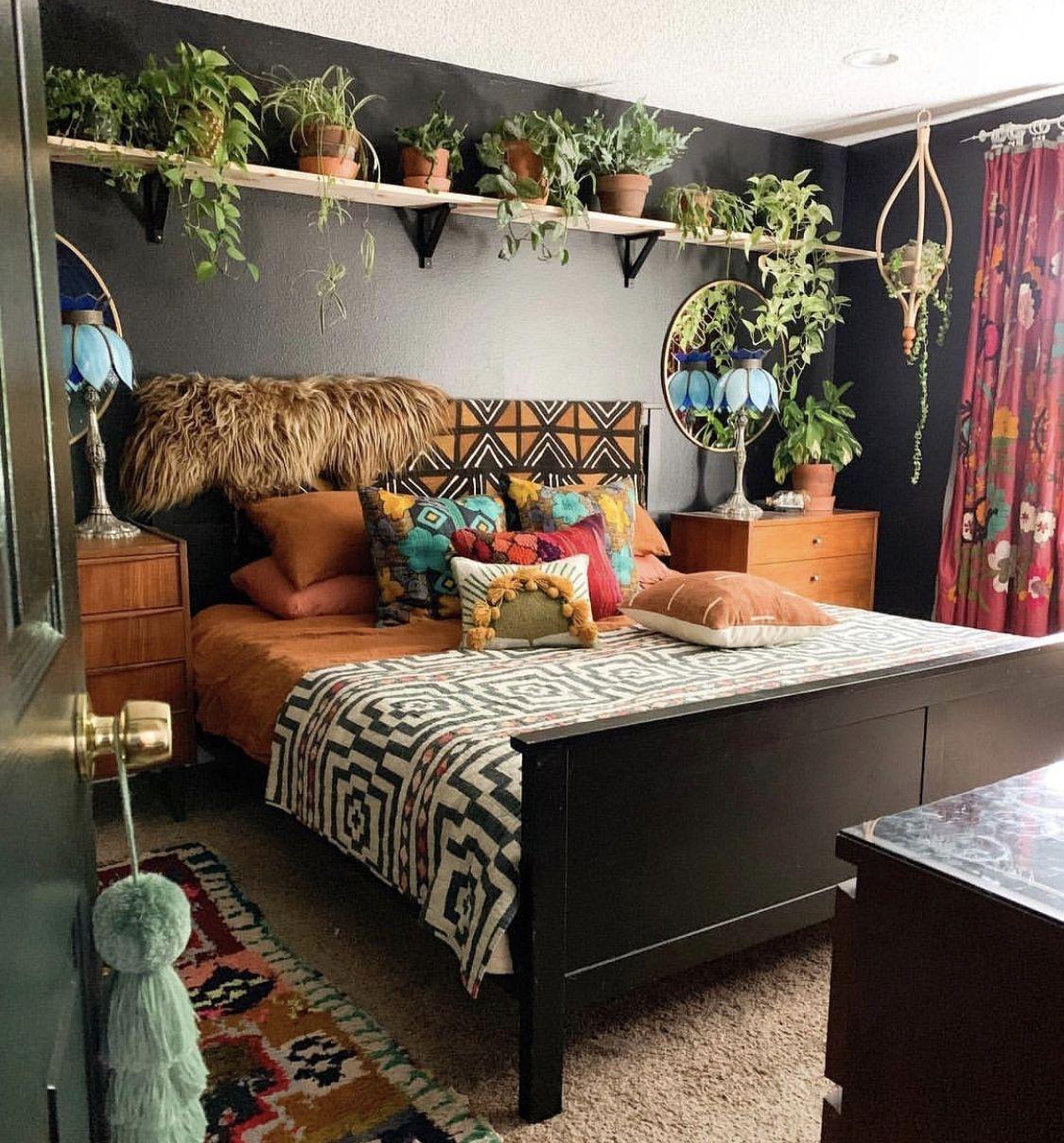Plants on shelf above bed | Hippie home decor, Bohemian ...