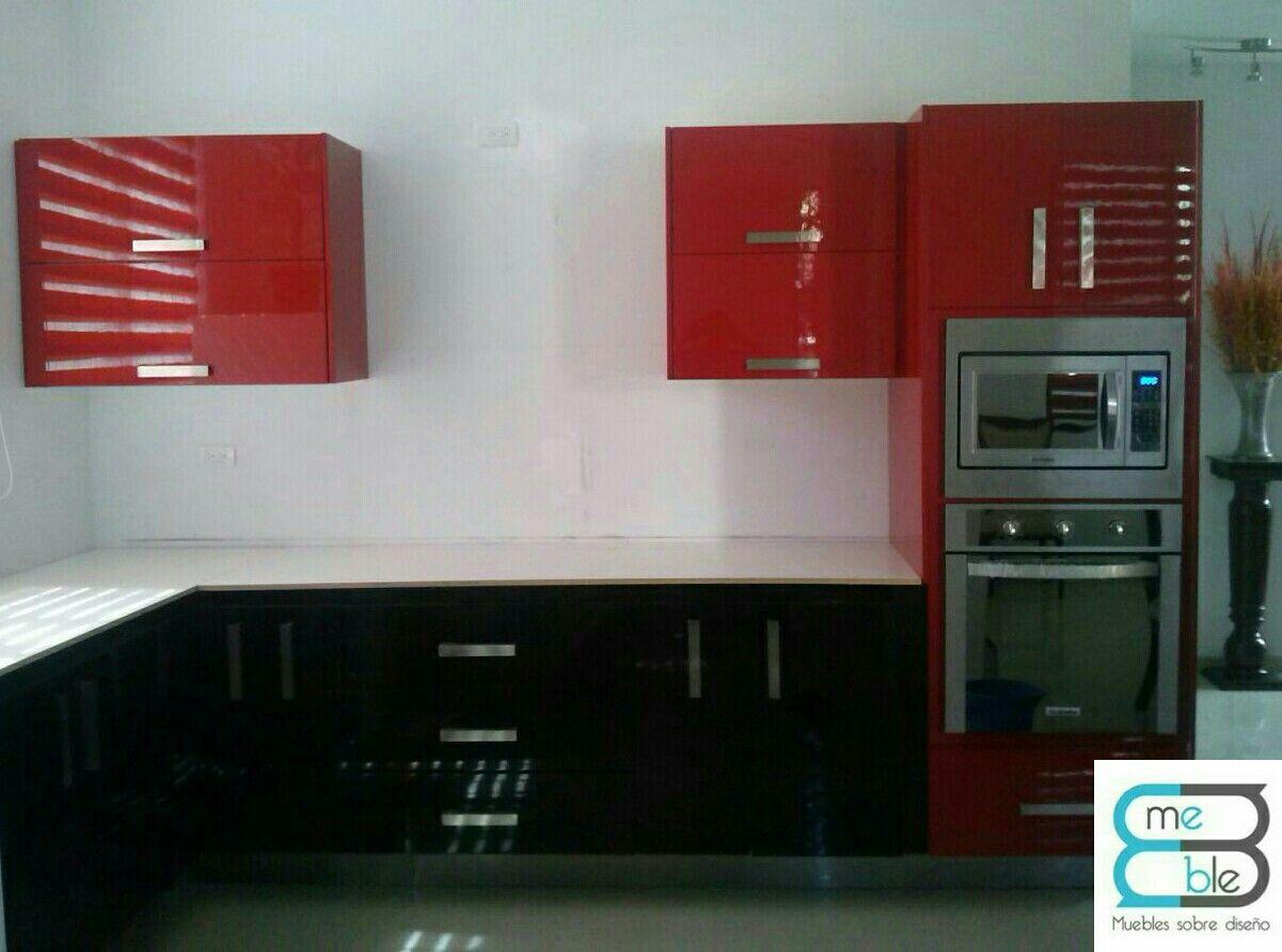 Cocina Integral En L Combinada En Colores Chocolate Y Rojo Alto