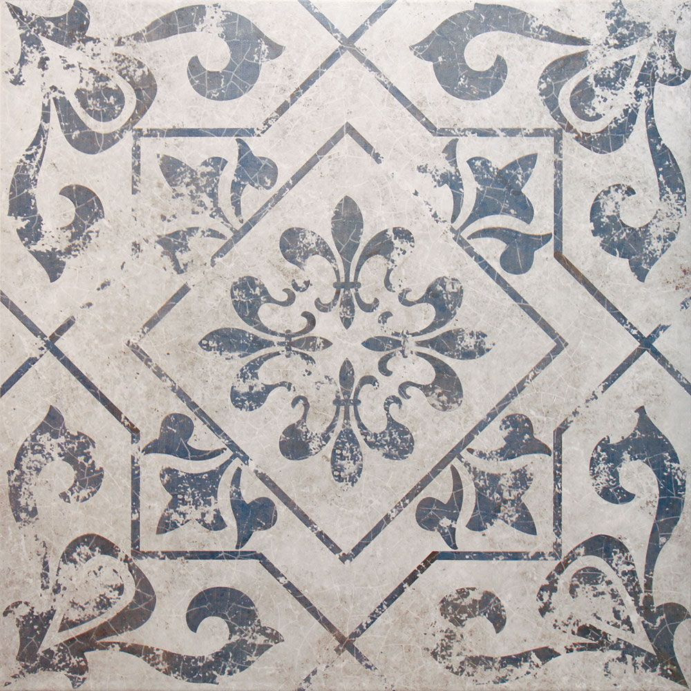 Blue and white bathroom floor tiles - Victorian Medieval Style Bathroom Floor Tiles