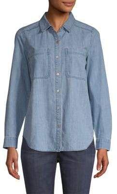 9b2b46942ca Eileen Fisher Organic Cotton Denim Button-Down Shirt | instyle ...